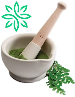 zija drink moringa mortar and pestle with shade dried moringa oleifera leaves